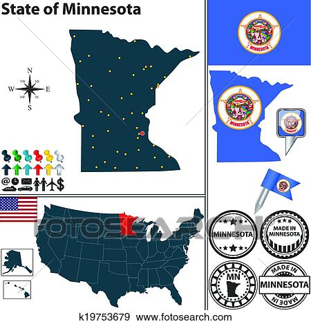 Clip Art of Map of state Minnesota, USA k19753679 - Search Clipart ...
