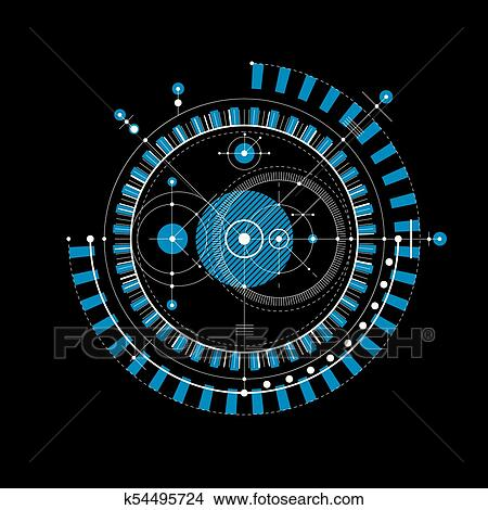 Mechanical Scheme Blue Vector Engineering Drawing With Circles And Geometric Parts Of Mechanism Technical Plan Can Be Used In Web Design As Wallpaper
