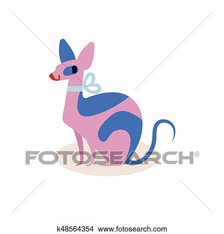 Mignon Rose Bleu Dessin Animé Chat Sphinx à A Arc Isolé Blanc Arrière Plan Simple Moderne Plat Style Vecteur Illustration Clipart