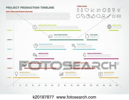 clip art of project production timeline graph k20187877 search