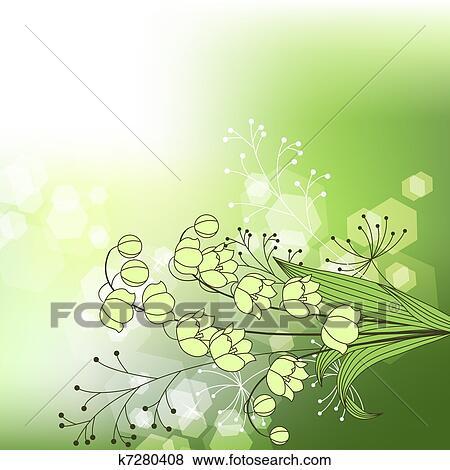 Sfondo Verde Con Fiore Primaverile Clip Art K7280408 Fotosearch