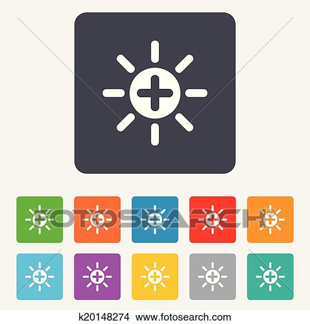 Clipart Of Sun Plus Sign Icon Heat Symbol Brightness K20148274