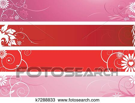 Valentine's day banners Clipart | k7288833 | Fotosearch