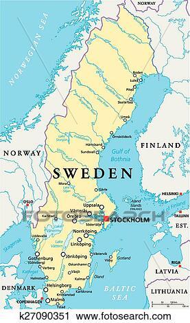 Zweden Politiek Kaart Clipart K27090351 Fotosearch