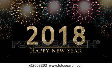 2018 New Year S Eve Illustration Card With Fireworks On