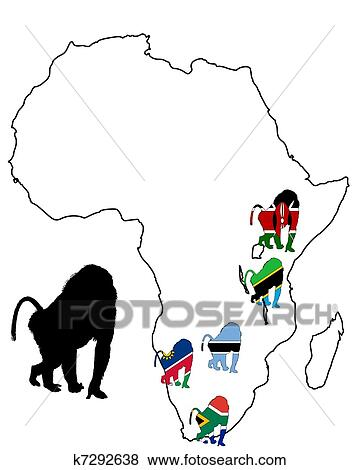 Clip Art Of Baboon Range Map K7292638
