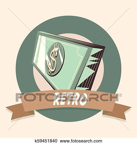 Retro Design Bank.Bank Banknote Money Retro Shopping Vintage Label Clipart