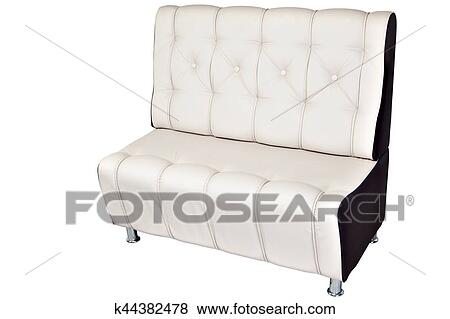 Picture Double Seater Sofa Lounge Leather White Isolated On Fotosearch