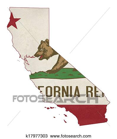 Drawing Of Grunge State California Flag Map K17977303