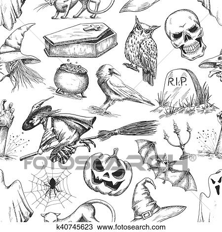 Clipart Of Halloween Party Symbols Pencil Sketch Pattern K40745623