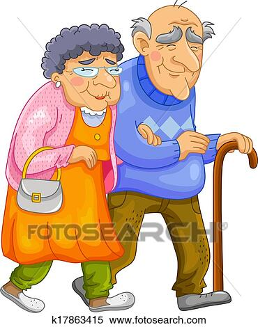 clipart of happy old couple k17863415 search clip art rh fotosearch com old married couple clipart old couple clipart black and white