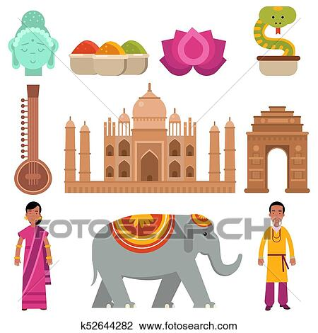 Clipart Of India Collection Set With Traditional Symbols Of Country