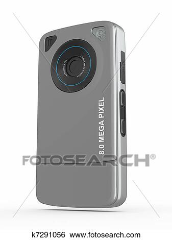 Metallic mobile phone with camera  3d Stock Illustration