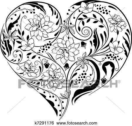 Clipart Noir Blanc Usines Et Fleurs Dans Forme Coeur K7291176