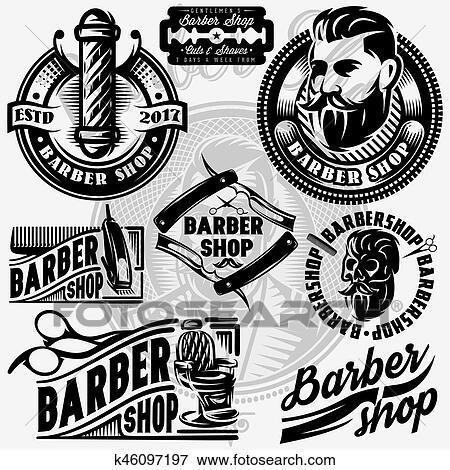 clip art of set of templates for barbershop barbershop logo vector