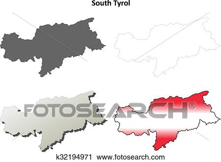 Clipart Of South Tyrol Blank Outline Map Set Austrian Version