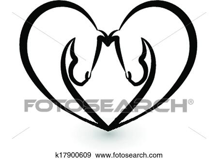 Clip Art Stilizzato Cavalli Amore Logotipo K17900609 Cerca