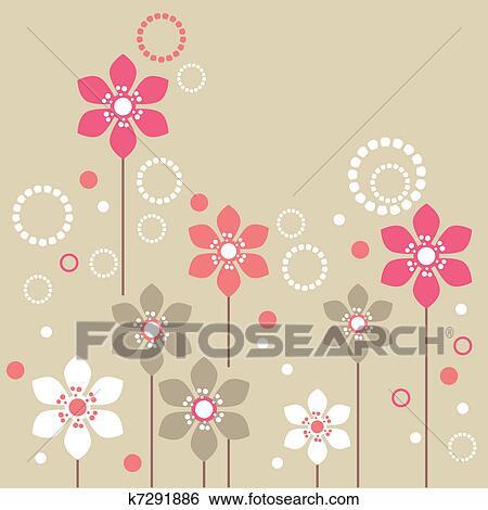 Stilizzato Rosa E Fiori Bianchi Su Sfondo Beige Clip Art