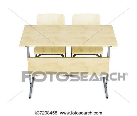 学校机 そして 椅子 前部 隔離された 白 バックグラウンド 3d