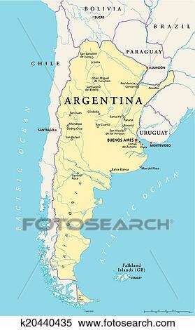 Argentinien Politisch Landkarte Clipart K20440435 Fotosearch