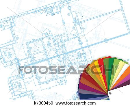 Clipart of blueprint and palette of colors k7300450 search clip blueprint and palette of colors illustration malvernweather Choice Image