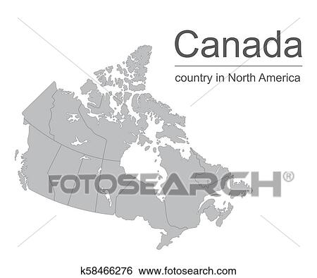 Canada map vector outline illustration with provinces or ...