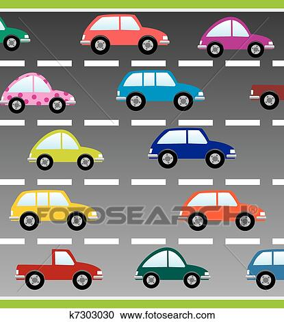 Cars On The Road Clipart K7303030 Fotosearch