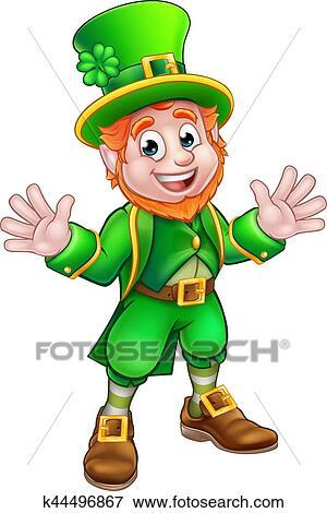 clip art of cartoon leprechaun k44496867 search clipart rh fotosearch com clipart leprechaun hat leprechaun clipart black and white