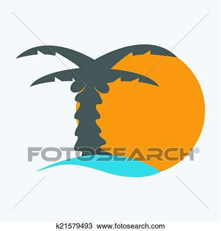 Coconut Palm Tree Icons Or Symbols Of Travel Vector Graphic This Illustration Represents Exotic Destinations Tropical Tourism Places