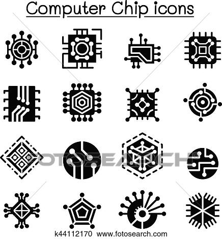 Clipart Of Computer Chips And Electronic Circuit Icons K44112170