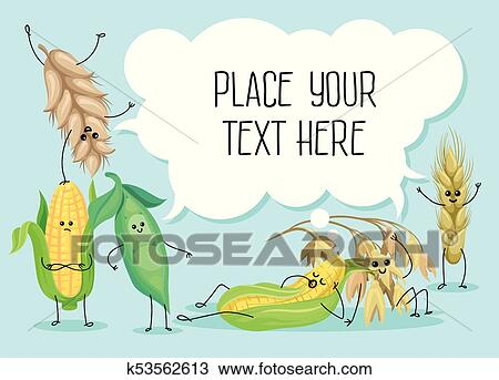 Clipart Of Cute Wheat Stem Bean Peas And Corn Characters Cereals