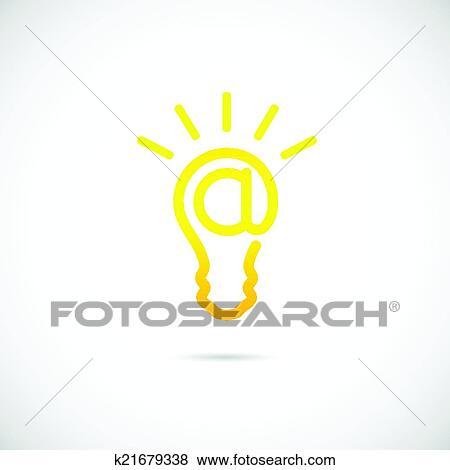 Clip Art - e-mail, zeichen, glühbirne, vektor, begriff, symbol ...