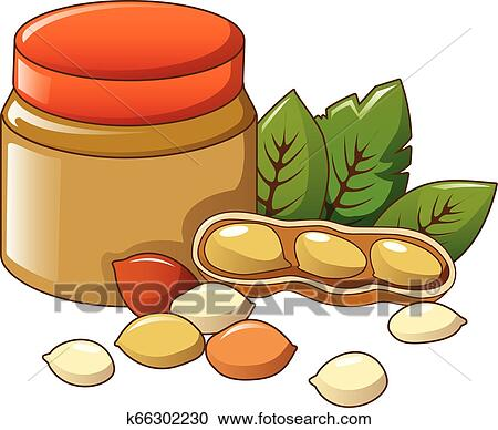 Jar of peanut butter cartoon illustration. A cartoon stylized jar of peanut  butter with a bright label.