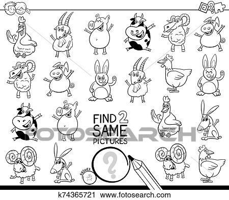 Find Two Same Farm Animals Color Book Clipart K74365721 Fotosearch