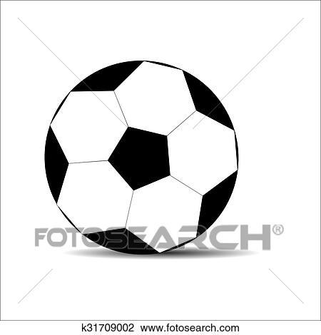 Fussball Ball Schwarz Weiss Clipart K31709002 Fotosearch