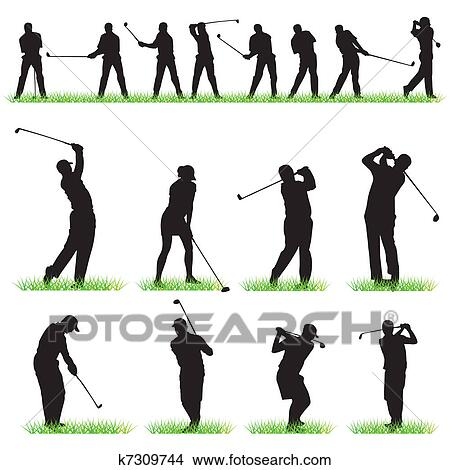 Clipart Of Golf Silhouettes Set K7309744 Search Clip Art
