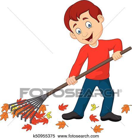 Happy Boy Raking Leaves Clipart K50955375 Fotosearch