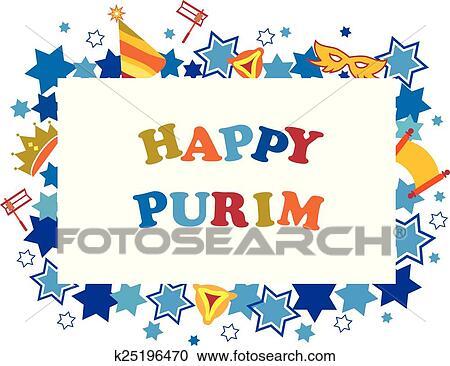 Clipart - vacaciones judías, purim, conjunto, de, elementos, para ...