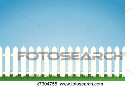 Picket Fence Drawing With Vector Illustration Of White Picket Fence Image Contains Lots Space For Copy Eps Version Clipart Fence K7304755 Search Clip Art