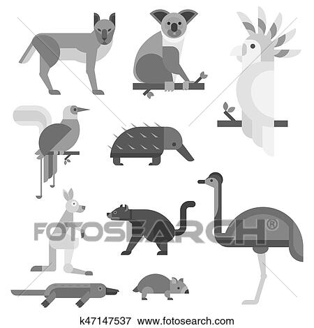 Clip Art Of Australia Wild Animals Cartoon Popular Nature Characters