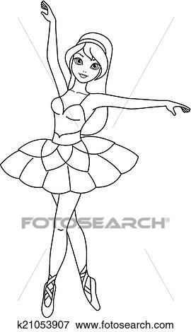 Clip Art Of Ballerina Coloring Page K21053907 Search