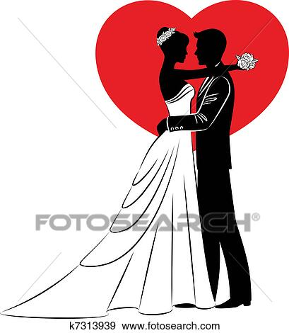 clip art of beautiful bride and groom k7313939 search clipart rh fotosearch com bride and groom clipart vector clipart bride and groom free
