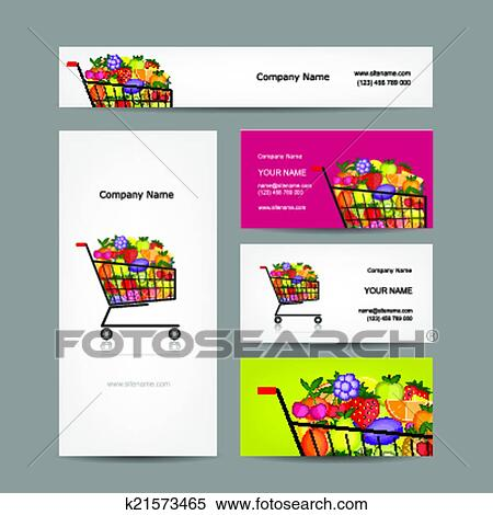 Clipart of business cards design trolley with fruits k21573465 clipart business cards design trolley with fruits fotosearch search clip art colourmoves