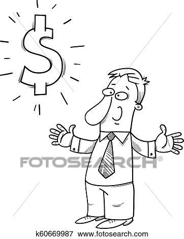 Happy businessman with dollar sign cartoon Clip Art
