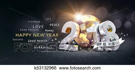 stock illustration happy new year 2018 greeting card for all the best fotosearch