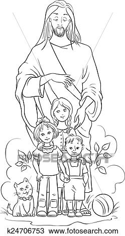 Jesus with children. Colouring page Clipart | k24706753 ...