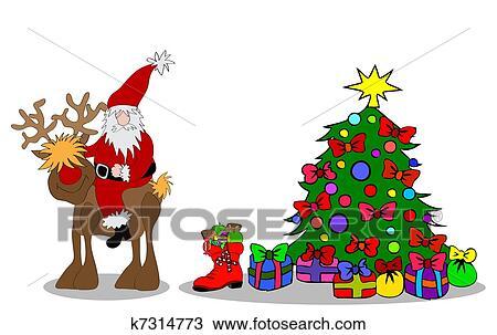 Santa Claus Christmas Tree Drawing