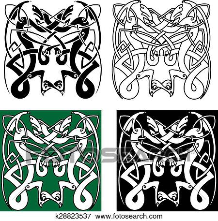 Tribal Dragons With Celtic Knot Pattern Clip Art K28823537 Fotosearch