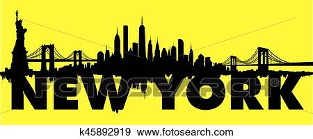 Yellow New York City Skyline Vector Clip Art K45892919 Fotosearch