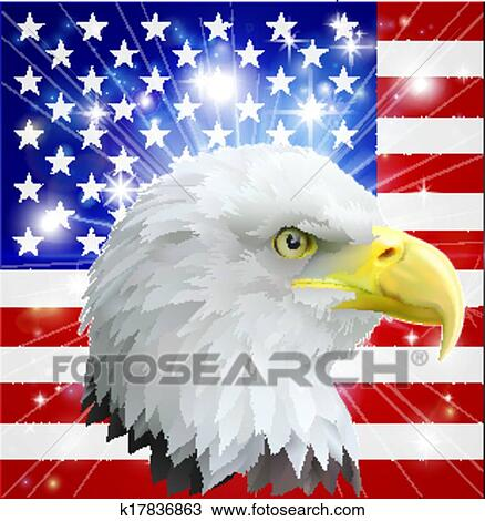 Distressed american eagle with flag design for team or holiday.